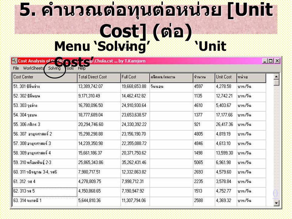 5. คำนวณต่อทุนต่อหน่วย [Unit Cost] (ต่อ)